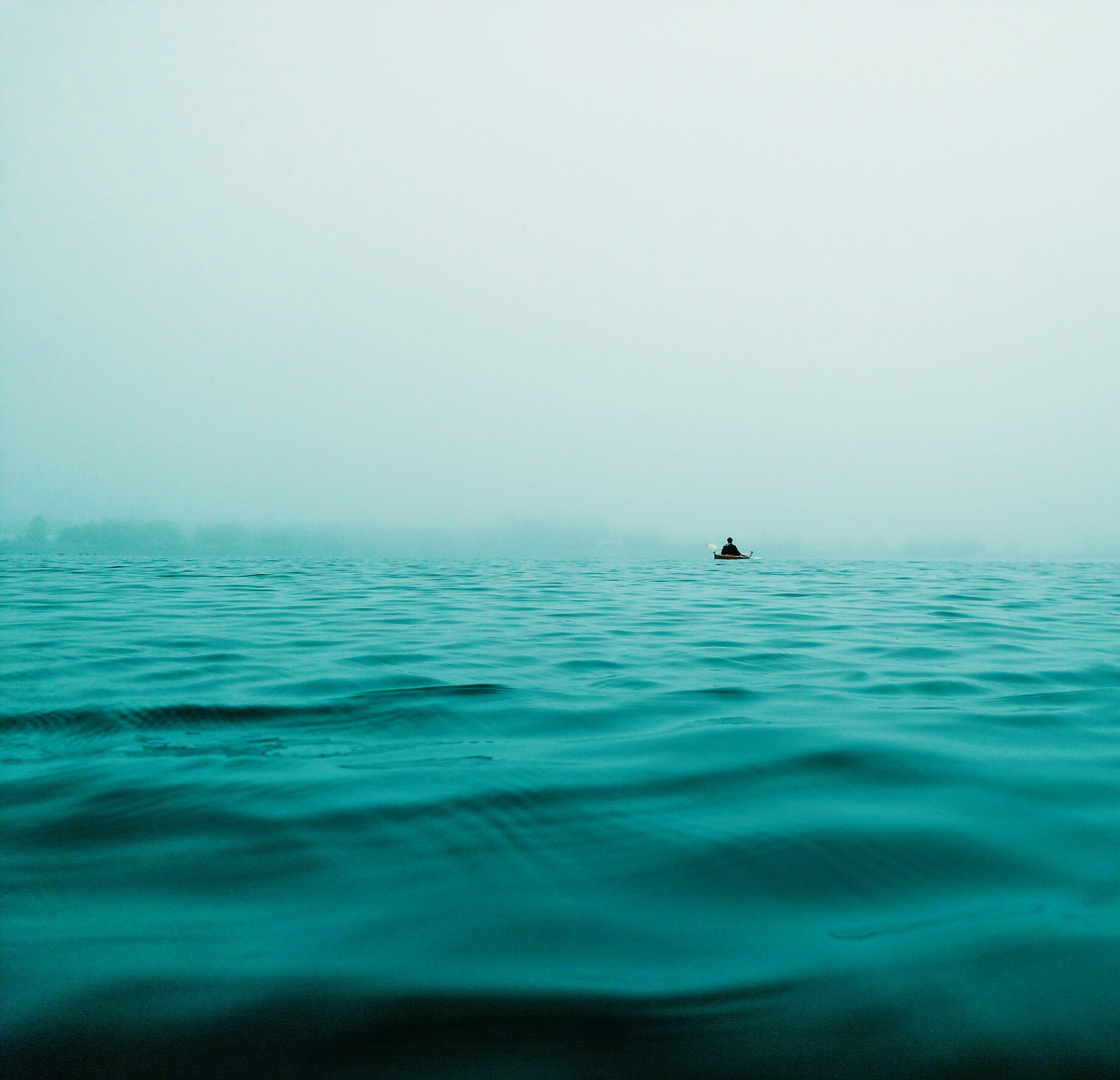 Alone blue ocean